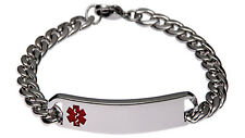 Stainless Steel Classic Red Bracelet Medical ID Alert Jewellery by Mediband