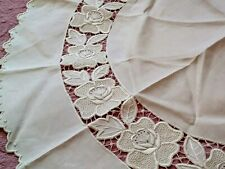 Gorgeous Expert Whitework Madeira Cutwork Embroidered Linen Tablecloth 34""