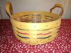"""Longaberger 2001 Round Darning Woven Traditions Basket 10"""" Plastic DividerNICE"""