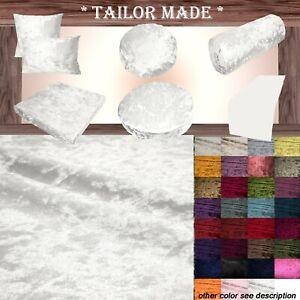 Mv102 White Shiny Velvet Sofa Seat Patio Bench Box Cushion Bolster Cover/Runner