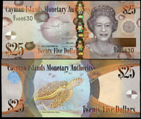 CAYMAN ISLANDS 25 DOLLARS 2014 QEII P 41 NEW SIGN WITH D/2 PREFIX UNC