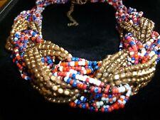 Multi Colour Beaded Necklace Chunky Choker Collar Style Bib Necklace Masai