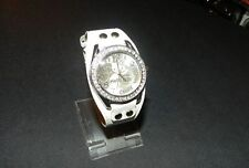 Hello Kitty Heart and Kitty face watch white silver tone clear crystal face NEW
