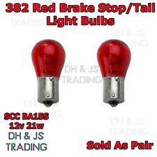 2 x 382 R Red Brake Light Indicator Stop Tail Car Bulbs Bulb 12v 21w BAY15S SCC