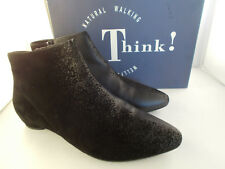 Think! Imma Velvet Goat/Spray Black Leather/Suede Boots Women's Size 10 US NIB