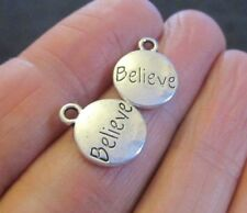 Pack of 20 Antique Silver BELIEVE Pendant Charms 14mm x 11mm Wish