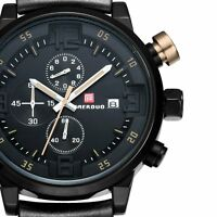 Military Mens Analog Date Quartz Sport Stainless Steel Wrist Watch Black Rubber