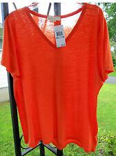 Michael Kors 1X Orange V-neck LINEN-blend Tee Top Blouse High-Low Hem $89.50 NWT