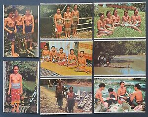 Malaysia Mini Postcards - Sarawak Sea & Land Dayak Nude Total 8