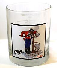 """1979 Arby's/Pepsi Norman Rockwell 'Chilling Chore' Winter Scenes Glass 4"""" Tall"""