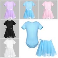 Girls Ballet Dance Dress Kids Gymnastics Leotard+Chiffon Tutu Skirt Dancewear