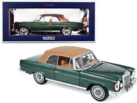 1969 MERCEDES BENZ 280SE CONVERTIBLE GREEN MET. 1/18 DIECAST MODEL NOREV 183434