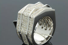 1.87 CARAT MENS WHITE GOLD FINISH GENUINE DIAMOND ENGAGEMENT WEDDING PINKY RING
