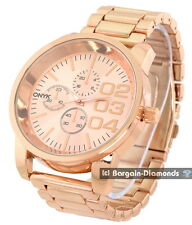 mens big heavy rose gold tone sports business watch designer 02 03 04 dial