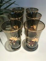 Vintage Hand Painted Gorgeous Smokey Drinking Glasses (6)