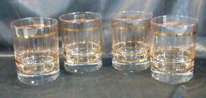 Set Of 4 Clear Glass Gold Trim 12 Oz. Highball Tumblers Glasses