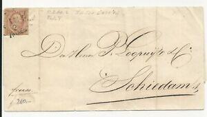 Nederland  2 plt V op brief 1860 naar Schiedam   CV 100 €