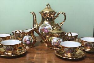 Very Pretty BAVARIA WALDERSHOF Germany Gold Limoges Afternoon COFFEE TEA SET