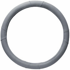 HD Faux Leather Steering Wheel Cover for Car Truck Van SUV Rigid Custom Gray