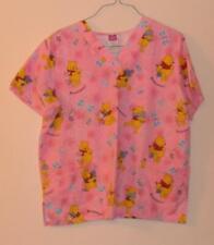 Disney Winnie the Pooh Piglet Womans L Medical Scrub Uniform Top Pink Dragonfly
