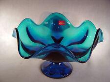 """Vintage Viking Art Glass Epic Bluenique 6 Petal 10"""" Compote  Original Sticker!!"""