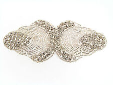NWOT Clear Prong Set Rhinestone Silver Lined Bugle Bead Fancy Applique Patch