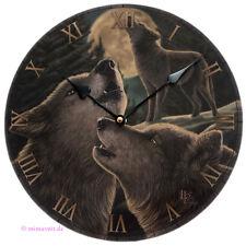 Wanduhr Bilderuhr Uhr Deko - Wolfsgesang heulender Wolf bei Vollmond Nacht Wölfe