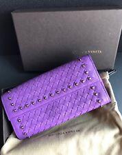 NWT Authentic Bottega Veneta BV Women's Stud Envelop Wallet In Purple Leather