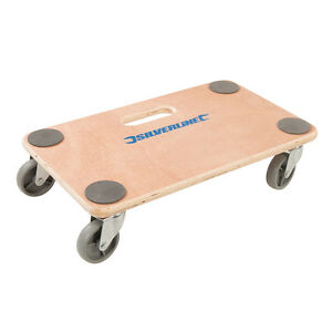 Silverline Dolly Trolley Platform 150kg Wheeled Wooden Board Transporter