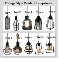 Vintage Edison Wire Cage Loft Hanging Lamp Shade Pendant Light Chandelier UK