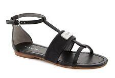 New Coach HARRIET Signature T-Strap Sandal Flat Shoe ~Black *6