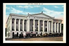 DR JIM STAMPS US POSTCARD MACON GEORGIA CITY HALL ANTIQUE CARS