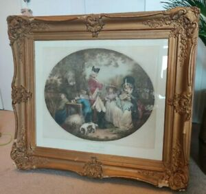 ST JAMES PARK 1785 LARGE COLOUR ENGRAVING IN ANTIQUE OLD FRAME BY G MORLAND
