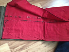 vintage flatware holder green fabric red lining 13 x 11 folded up