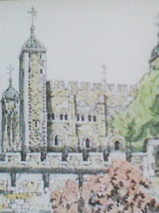 TOWER OF LONDON PRINT Colored and Signed by Artist Douglas A. Heald