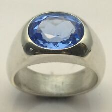 MJG STERLING SILVER MEN'S RING.12 X 10mm FACETED LAB GROWN AQUAMARINE. SZ 10.5
