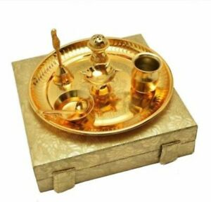 Decorative Brass Pooja Plate With Oil Lamp And Holders Set For Hinduism Prayers