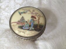 Vintage Circular Chinoiserie Dressing Table Jewel Casket by Regent of London