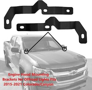 Engine Hood LED Mount Brackets for Offroad Lights Fits Chevy Colorado 2015- 2021