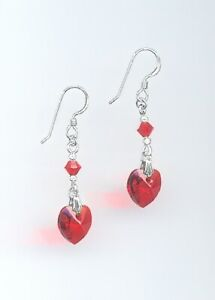 Lovely Silver & Crystal Heart Earrings with Swarovski SIAM CHERRY RED Crystals