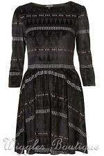 Topshop Aztec Print Velvet Fit & Flare Skater Dress - Black UK14/EU42/US10 BNWOT