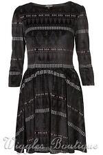 Topshop Aztec Print Velvet Fit & Flare Skater Dress - Black UK14/EU42/US10 BNWOT