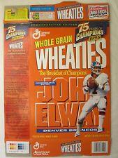 Empty WHEATIES Cereal Box NFL 1999 JOHN ELWAY Broncos 18 oz