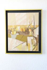 Vintage Mid century Modern Carole Moskowitz signed serigraph ABSTRACT painting