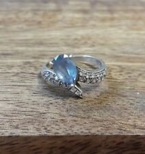 Vintage Engagement Ring  925 Sterling  Silver Jewelry Aquamarine size 7