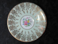 "Porcelain Bone China 5.5"" Plate Saucer Rose Center Design Decorative Gold Accent"