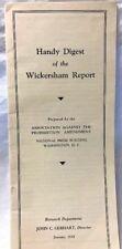 1932 Handy Digest Wickerham Report 18th Amendment Prohibition Liquor Repeal
