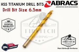 Abracs HSS Titanium Coated Drill Bits - 6.5mm - Metal Steel Plastic Wood