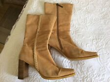 River Island Tan Suede Boots - Size 7 - Vintage 1990's