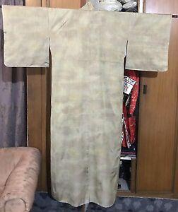 Vintage Chinese+ Japanese Self Silk Kimono Robe Textile Simple